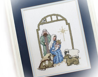 Large Christmas Nativity Wall Hanging, Vintage Cross Stitch Nativity, Christmas Decor, Xmas Nostalgia Wall Decor