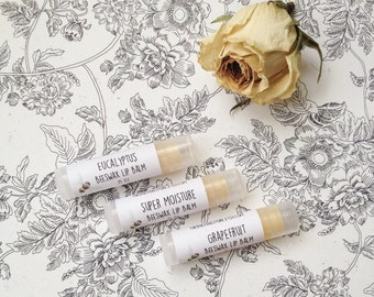 Beeswax Lip Balm - Choose Your Flavor Eucalyptus Grapefruit Super Moisture - One Tube