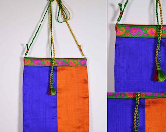 Orange and Blue Raw Silk Sling Bag - Wedding Gift - Silk Sling Bag - Gift for Girl Friend - Mother's Day Gift - Handmade OOAK Bag