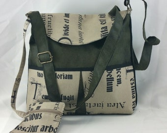"""Handbag brown used leatherette , green and taupe cotton + linen """"latin"""""""