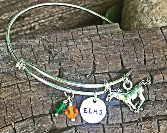 High school charm bracelet, college charm bracelet, expandable charm bracelet, sport team bracelet, school mascot jewelry, school spirit