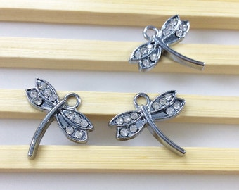 10  pcs    Dragonfly  Charms , Dragonfly Pendant  ,  Dragonfly  Necklace,