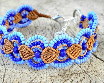 Macrame, Handknotted bracelet, blue and brown