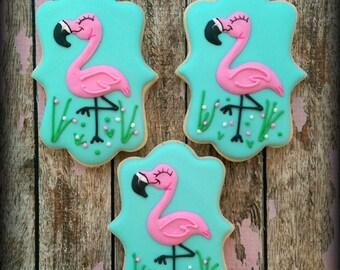 Pink Flamingo Cookies - Bird Cookies - Custom Decorated Cookies