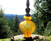 Vintage Amber Glass Lamp - Swirled Urn Pattern - Glass Table Lamp