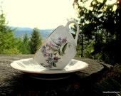 Made in Japan Porcelain Tea Cup - Purple Flowers - Japanese Tea Cup
