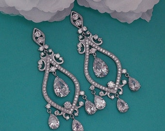 SALE - Swarovski Bridal Earrings Chandelier CZ Zirconia Crystal Wedding Vintage Accessories Dangle Long Earrings Bridal Jewelry Earrings 019