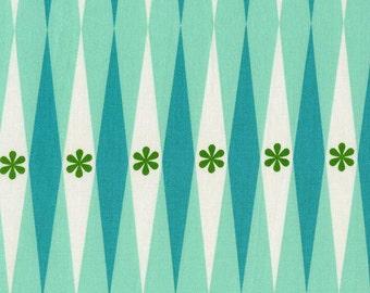 "Cotton + Steel Playful Fabric ""Backgammonish Aqua"" from Melody Miller.  Backgammon Aqua Blue. 100% cotton. 0015-1"