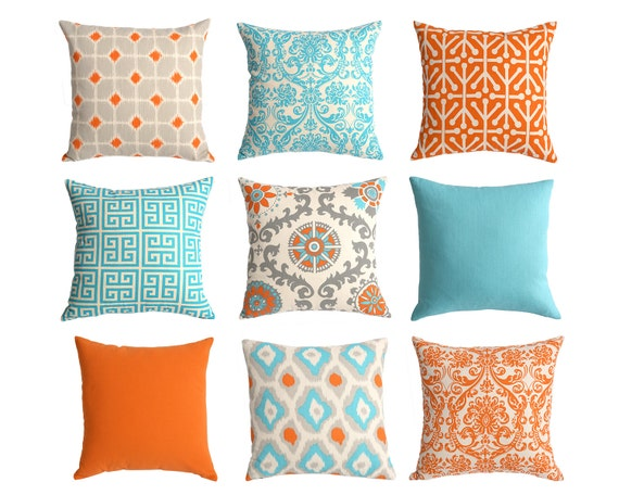 Decorative Pillows Blue And Orange : One Orange and Blue Euro sham 24x24 26x26 Inch Floor Pillow or
