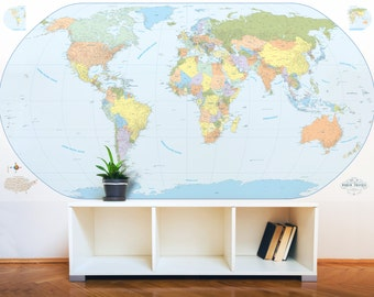 "Giant World Map Mural Stylish and Educational World Map Wall Art World Map Decal 90""x48"" with Cities!"