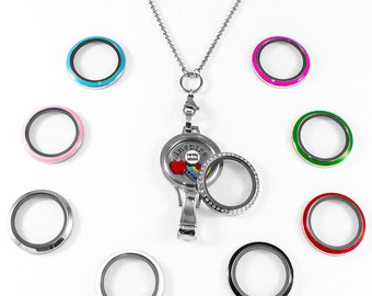 Floating Locket Lanyard Twist Interchangable Face with Badge Holder Included Chain, 6 Charms and 1 Plate Background