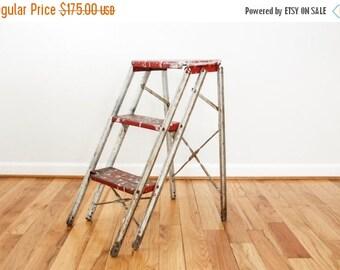 SALE metal ladder, step ladder, ladder shelf, red metal folding step ladder, great rustic industrial character, 3 steps, vintage