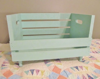 Dog Cat Bed recycled wood crate Blue Handmade portable Animal Lovers spoiled pets Cute