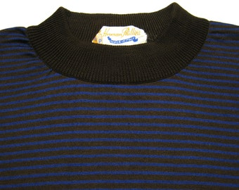 """Vintage 60's """"Herman Phillips"""" BLOOMINGDALES MENS STORE Striped Border Cotton Tee T Shirt. Exc. M-L"""