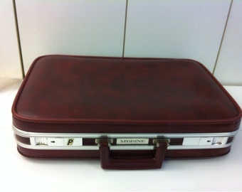 Burgundy Metal Aluminum and Faux Leather  Briefcase Suitcase McBrine Vintage 60s