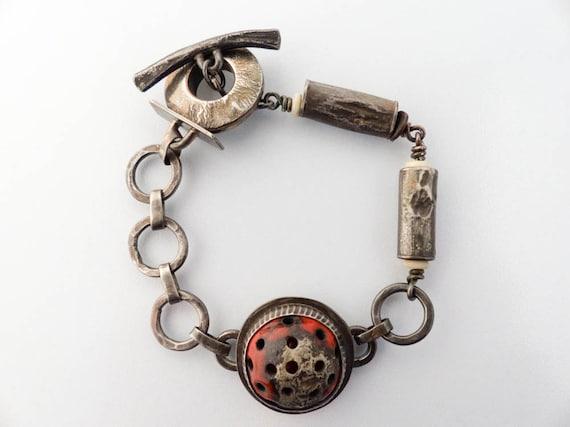 Sterling Silver, Red Enamel Handmade Bracelet