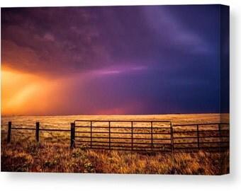 Canvas Photography, Western Canvas, Landscape Art, Oklahoma Canvas, Gallery Wrap, Thunderstorm Photo, Amazing Sky, Colorful Art, Canvas