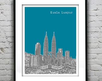Kuala Lumpur Malaysia Poster Art Print Skyline Asia Travel Version 2