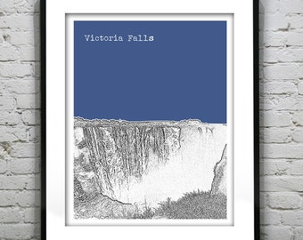 Victoria Falls Skyline Poster Art Print Zimbabwe