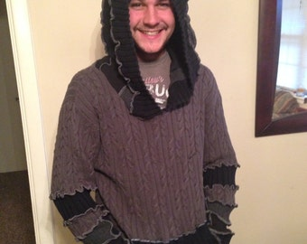 Upcycle Sweater Hoodie Grey and Black Size LARGE