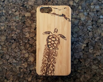 Baby Sea Turtle iPhone 5S or iPhone 5 or iPhone SE Case. Baby Sea Turtle Sketch. Egg Hatch Sand Sea. Hawaii Honu Ocean Bamboo Wood Cover.