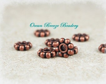 7mm Daisy Spacer Beads  . 100 For You . Antiqued Copper
