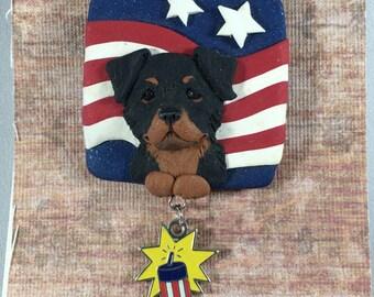Rottweiler Puppy Americana USA Sculpted clay DOG lover Brooch by Raquel at the WRC hand sculpted original Rottweiler pin