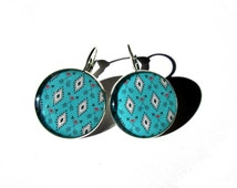 Geometric earrings, abstract pattern, turquoise earrings, dangle earrings, Ethnic Jewelry, Turquoise diamonds, vintage style, tribal
