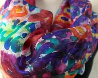Nuno felt shawl GARDEN for women,  handmade silk felt flower scarf.
