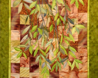 Hand painted fabric art quilt, wallhanging - Salt Spring Island