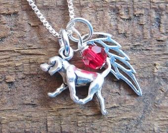 Retriever Mini Angel Wing Sterling Silver Necklace (birthstone charm)