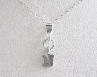 Initial Letter N Mini Pendant Charm and Necklace