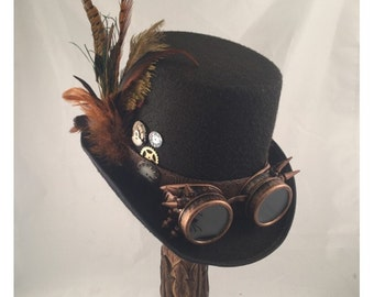 STEAMPUNK TOP HATS, Steampunk Shop, Black Top Hat with brown, Spiked Goggles