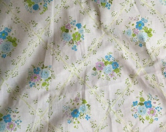 Vintage Blue Floral Twin Sheet Set with new old stock flat sheet