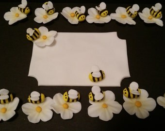 Bee Flower Topper and Cake Plaque