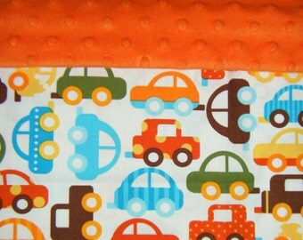 Nap Mat Cover / Toddler Cot Cover with Padded Minky Dot Headrest - Cars