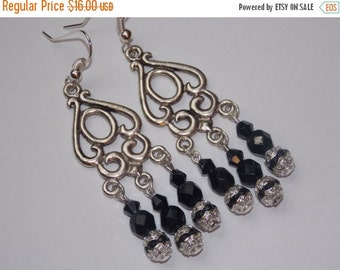 25%OFF Black Crystal Chandelier Earrings