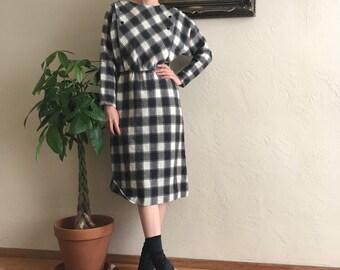 80s does 50s Wool Plaid Dress
