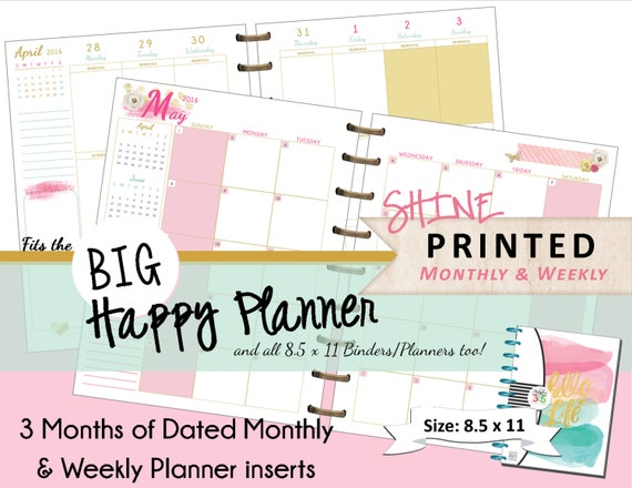 Happy Planner Calendar Refills : Big happy planner printed inserts monthly by