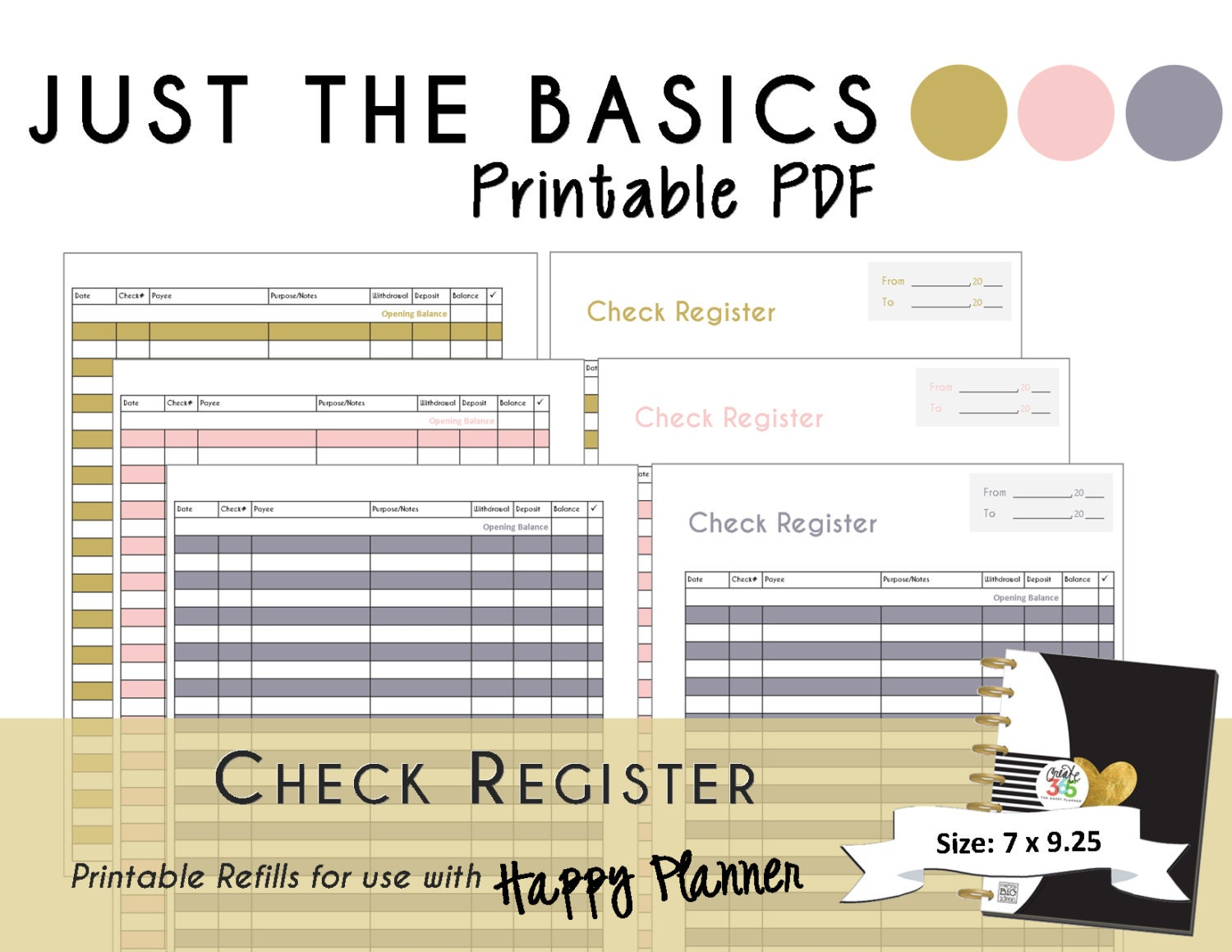 It is a photo of Critical Printable Check Register