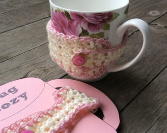 Mug cozy, pink and white, set of two. Woollen cup cosy, keep your tea or coffee warm for longer. Kitchen, home decor, crochet