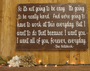 The Notebook Quote Pallet Sign So It's Not Going To Be Easy Wedding Anniversary Distressed Rustic Primitive Wood Brown Wall Decor