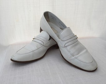 SALE! Moreschi Made in Italy for Russell Bromley Vintage White Leather Men Shoes / Mens Accessories / Gift for Him