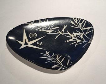 EXPO 58 Souvenir Vintage Black & White Melamine Triangular Ashtray Collectible