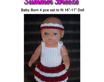 Baby Born Knitting Pattern Summer breeze fits 16 to 17 inch dolls (pattern only)
