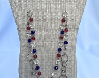 Bergie-Patriotic necklace, Cubs Necklace, Red White Blue necklace, layered beaded necklace, July 4th necklace, red necklace, blue necklace