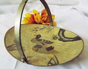 Brass And Enamel Small Basket Brass Basket Enamel Basket Enameled Birds Brass Enamel Bowl Candy Dish Trinket Dish Boho Decor Asian Decor