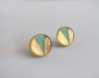Large Mint Green and 23k Gold  Round Stud Earrings - Surgical Steel Posts