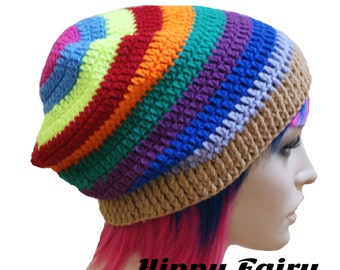 Neon Gay Pride slouch crochet hat