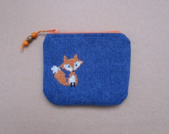Fox Coin Purse Denim Coin Purse Embroidered Zippy Pouch Cross Stitched Purse Zippy Card Pouch
